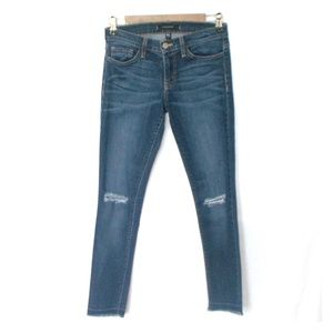 Flying Monkey Distressed Raw Hem Skinny Jeans